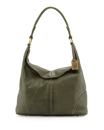 Campus Fold-Over Hobo Bag, Olive