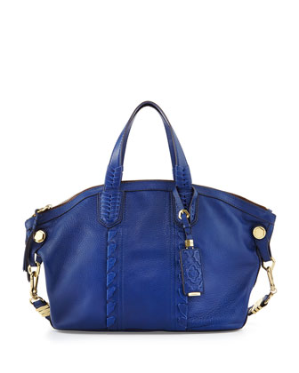 Cassie Braided Leather Medium Tote Bag, Indigo