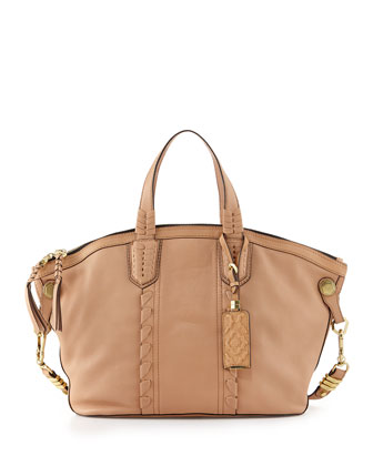Cassie Braided Leather Medium Tote Bag, Nude