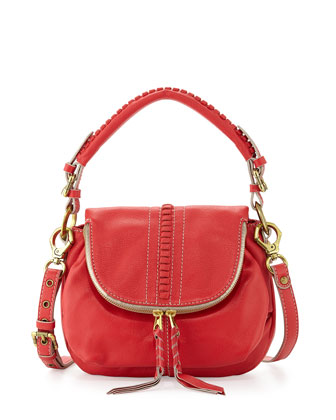 Hannah Leather Flat Crossbody Bag, Berry
