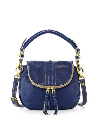 Hannah Leather Flat Crossbody Bag, Indigo