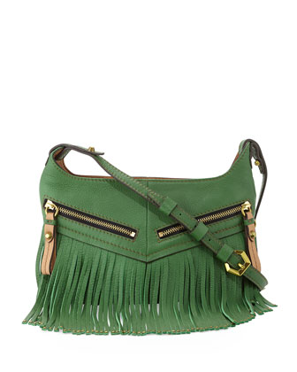 Bristol Fringe Leather Zip Crossbody Bag, Kelly