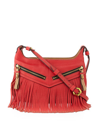 Bristol Fringe Leather Zip Crossbody Bag, Berry