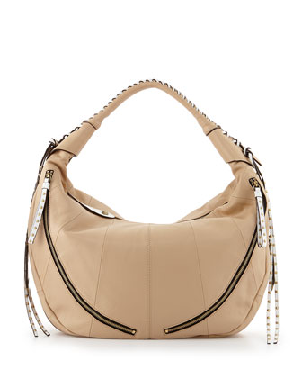 Jasmine Zip Hobo Bag, Sand