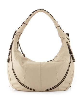 Jasmine Zip Hobo Bag, Stone