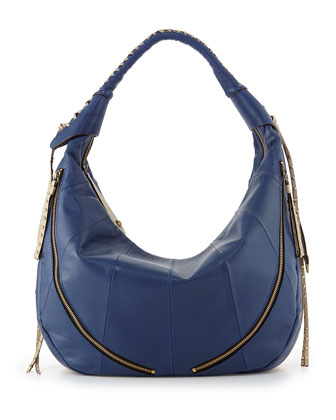 Jasmine Zip Hobo Bag, Indigo