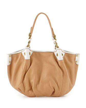 Jesse Leather Satchel Bag, Sand
