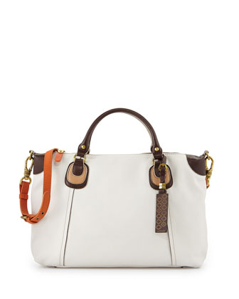 Maria Colorblock Leather Satchel Bag, White Multi