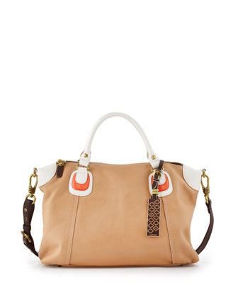 Maria Colorblock Leather Satchel Bag, Sand Multi