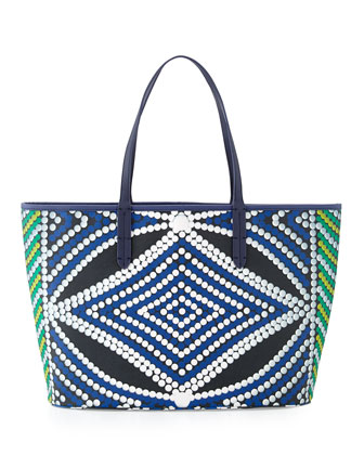 St. Tropez Bead-Print Coated Canvas Tote Bag, Lombok