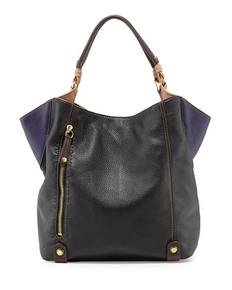 Aquarius Leather Shopper Bag, Black/Multi