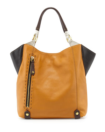Aquarius Leather Shopper Bag, Gold/Multi