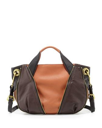Lian Small Zip Leather Satchel Bag, Saddle