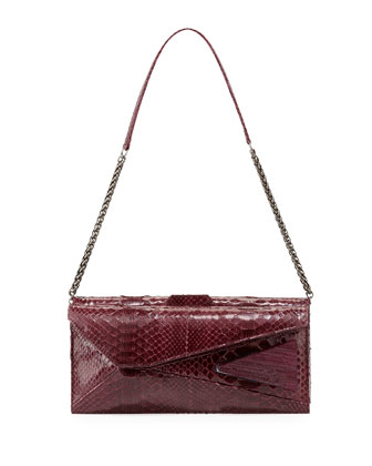 Stella Stretch Python Shoulder Bag, Bordeaux