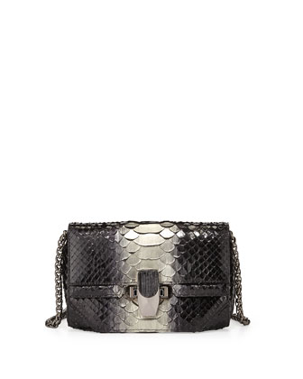 Petra Mini Python Latch Clutch Bag, Black/Silver