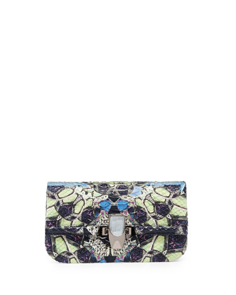 Mira Mini Python Clutch Bag, Black Multi