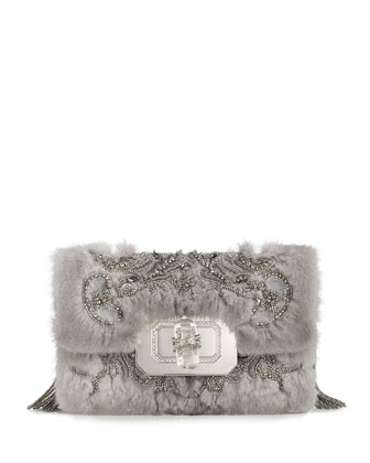 Phoebe Large Mink Fur Shoulder Bag, Gray