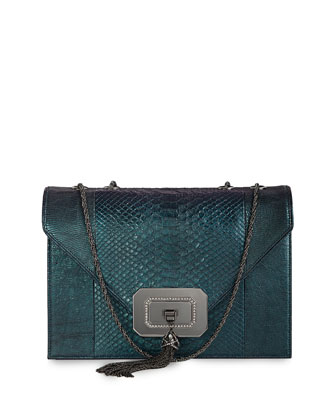Casati Large Python Shoulder Bag, Teal