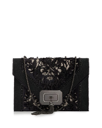 Casati Large Lace Shoulder Bag, Black