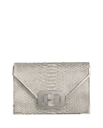 Valentina Python Envelope Clutch Bag, Silver