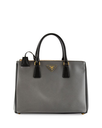 Saffiano Lux Bicolor Double-Zip Tote Bag, Gray/Black (Mercurio+Nero)