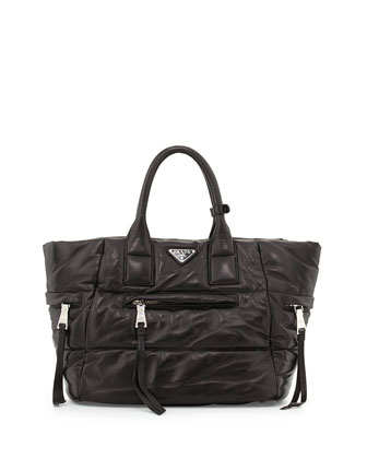 Nappa Bomber Tote Bag, Black (Nero)