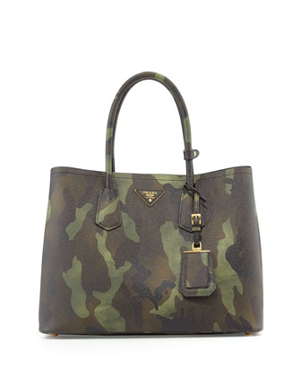 Saffiano Cuir Camouflage Double Bag, Brown Camo (Mimetico)