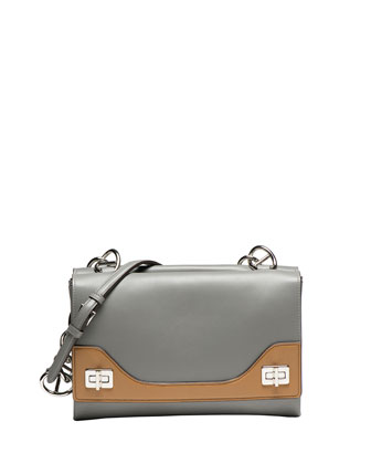 Vitello Soft Bicolor Chain Shoulder Bag, Nude/Gray (Marmo+Cannella)