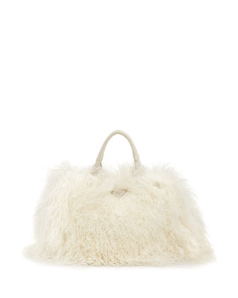 Mongolian Lamb Fur Tote Bag, White (Naturale)