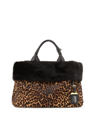 Calf Hair & Mink Fur Tote Bag, Leopard/Black (Miele/Moro)