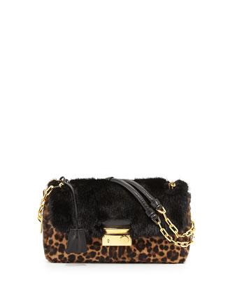 Calf Hair & Mink Fur Shoulder Bag, Leopard/Black, (Miele/Moro)