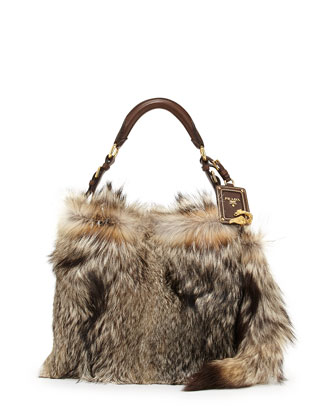 Volpetta Shoulder Bag with Fur Charm, Natural (Naturale)