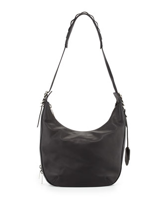 Bradbury Leather Zip Hobo Bag, Black