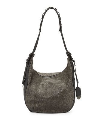 Bradbury Leather Zip Hobo Bag, Iron Gray
