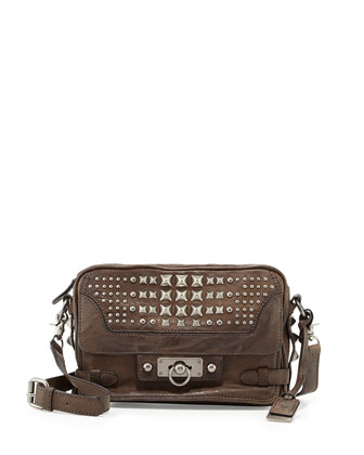 Cameron Studded Leather Crossbody Bag, Taupe