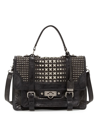 Cameron Leather Studded Satchel Bag, Black