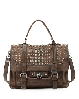 Cameron Leather Studded Satchel Bag, Taupe