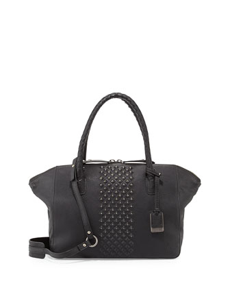 Jesse Peeping Stud Leather Tote Bag, Black