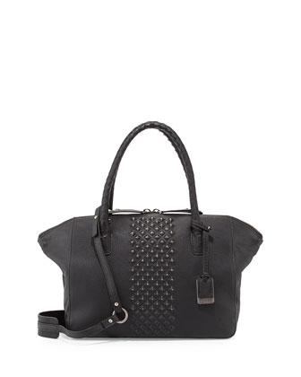 Jesse Peeping Stud Leather Tote Bag, Black