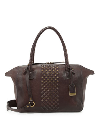 Jesse Peeping Stud Leather Tote Bag, Dark Brown