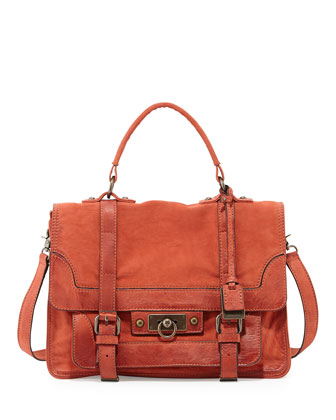 Cameron Distressed Leather Satchel Bag, Coral