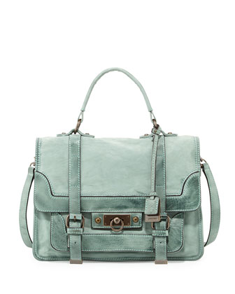 Cameron Distressed Leather Satchel Bag, Mint