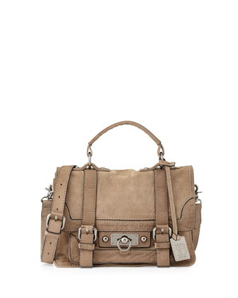 Cameron Small Leather Satchel Bag, Gray
