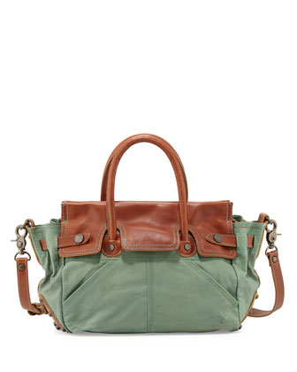 Tracy Antiqued Leather Satchel Bag, Turquoise