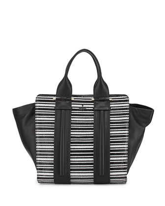 Provence Woven Patent Tote Bag, Black/White