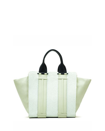 Provence Pebbled Leather Combo Tote Bag, Eggshell