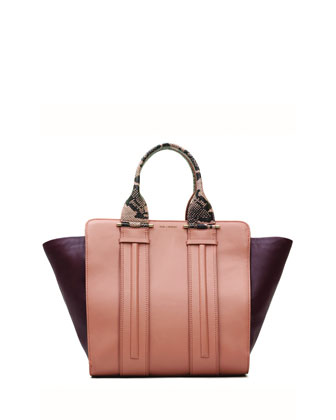 Provence Contrast Leather Tote Bag, Dusty Pink