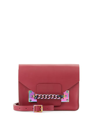 Iridescent Chain Envelope Bag, Raspberry