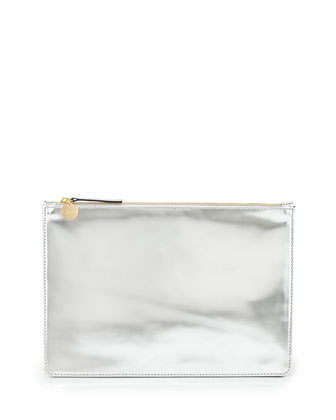 Mirror Metallic Flat Clutch Bag, Silver