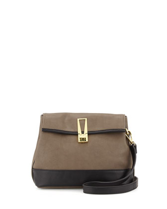 Colorblock Faux-Leather Crossbody Bag, Mocha